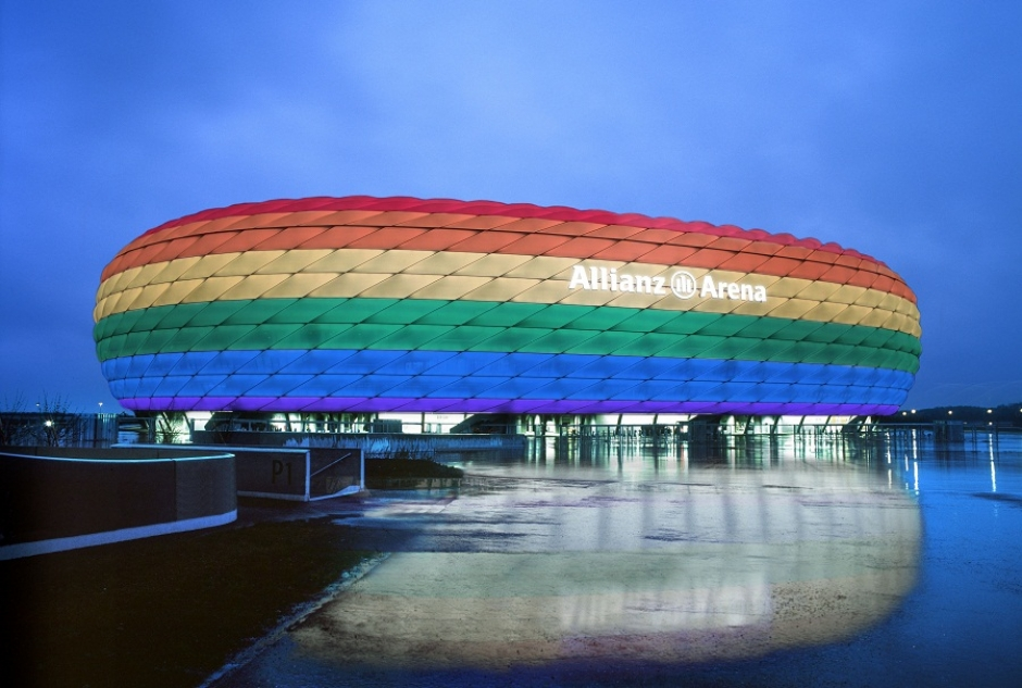 Allianz Arena in Rainbow Colours