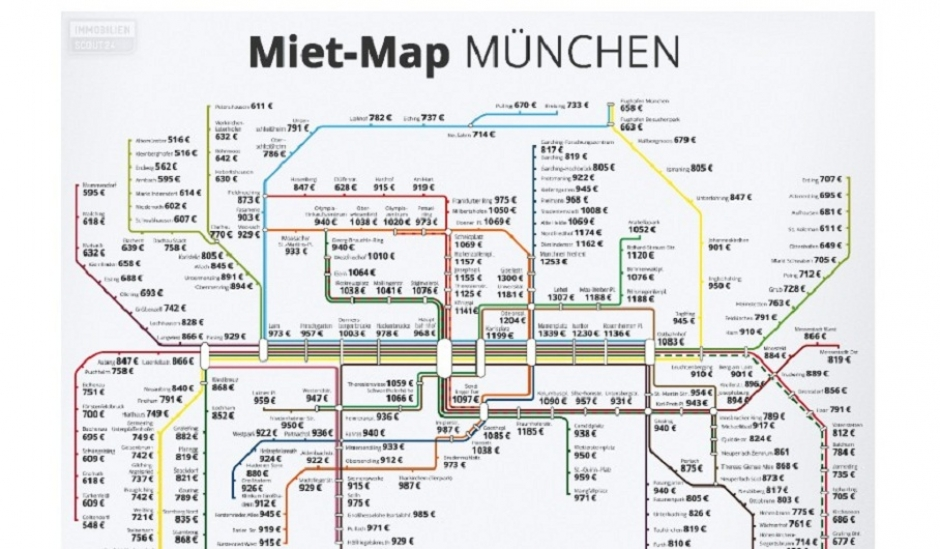 Apartment Rent Rate Map of Munich by Bus Stop