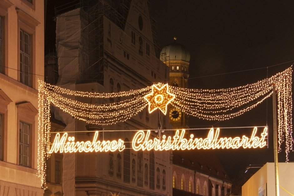The Christkindlmarkt Christmas Market at Munich's Marienplatz