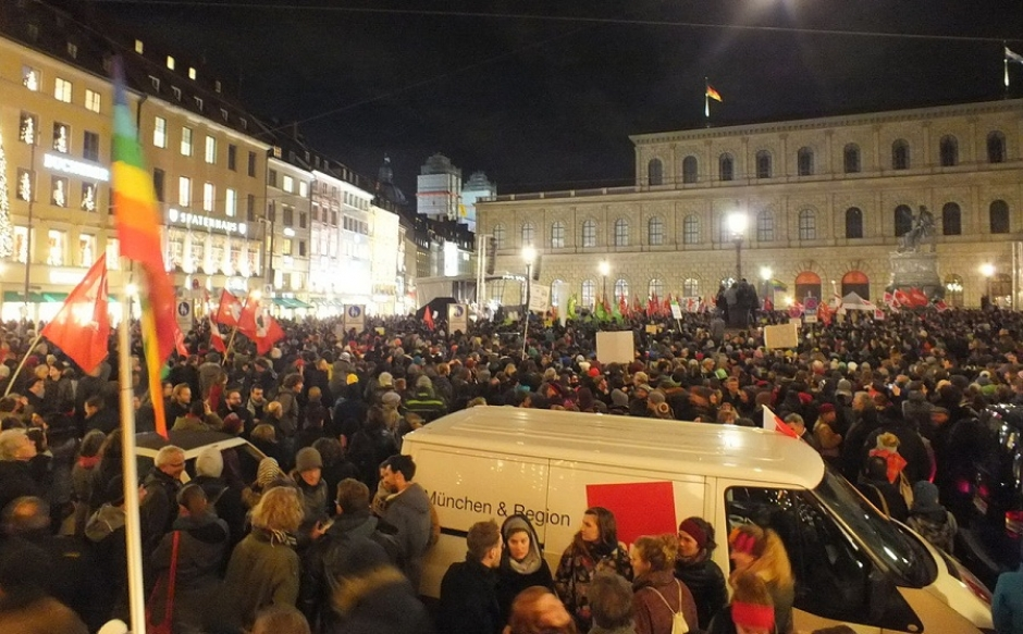 Anti-Pegida protests in Munich in December 2014