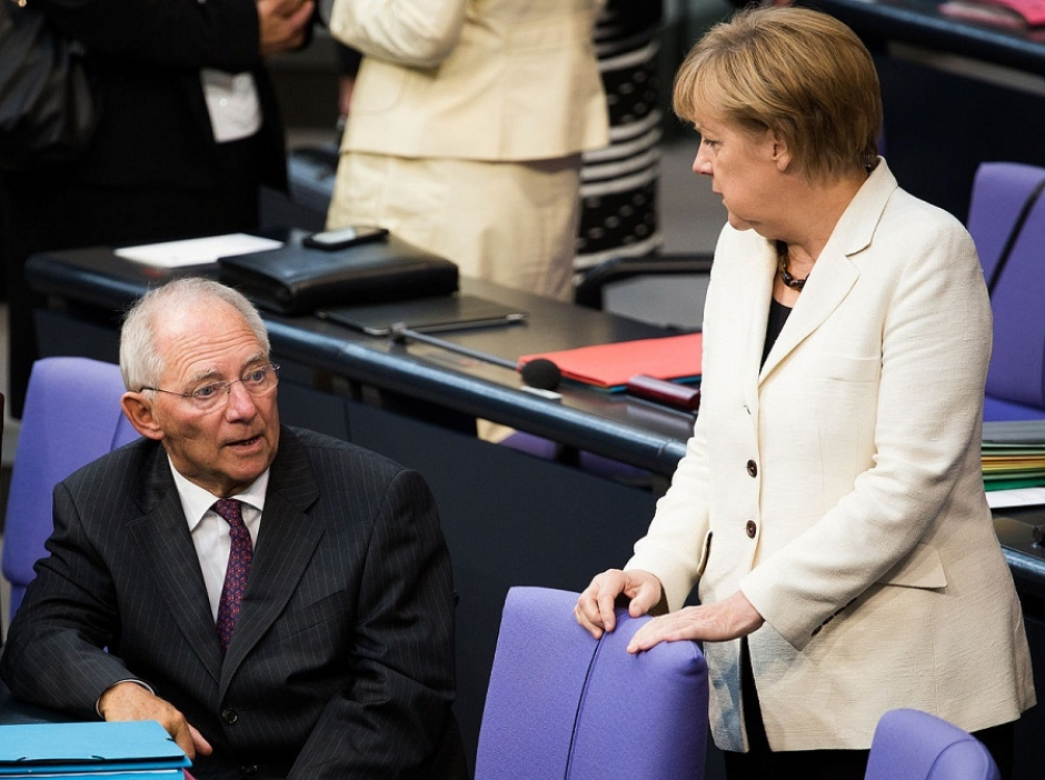 Wolfgang Schäuble and Angela Merkel at the Bundestag