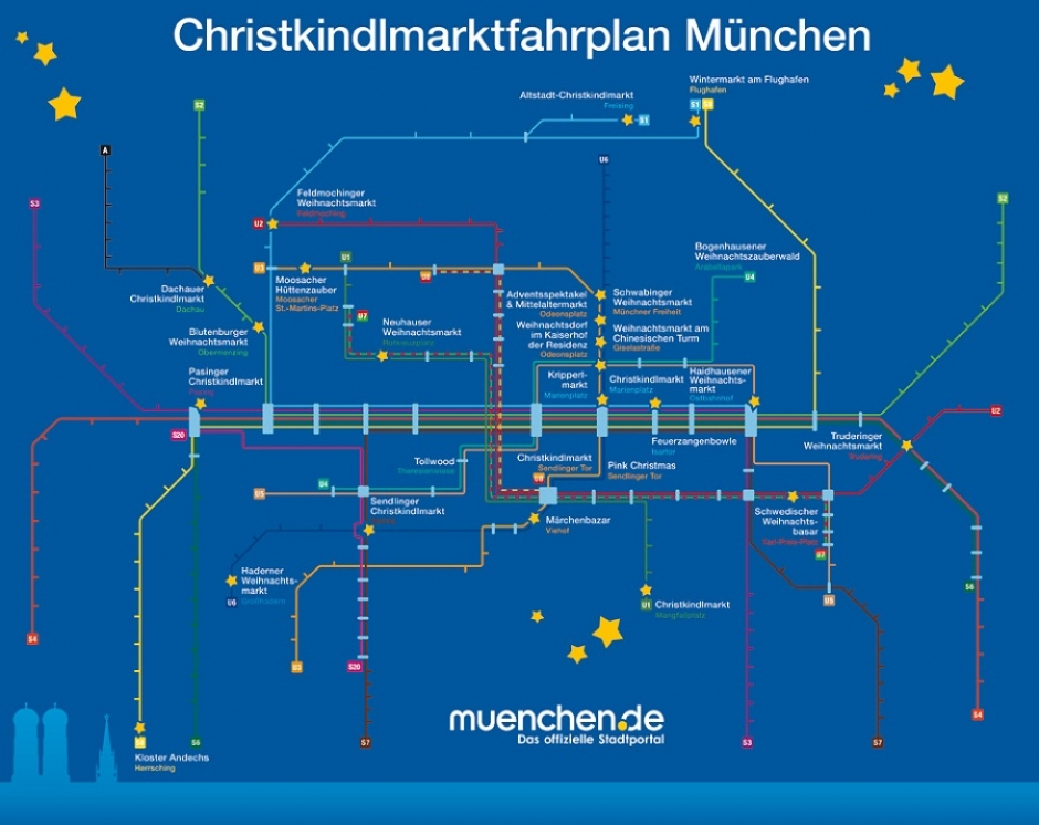 Map of Christmas Markets in Munich