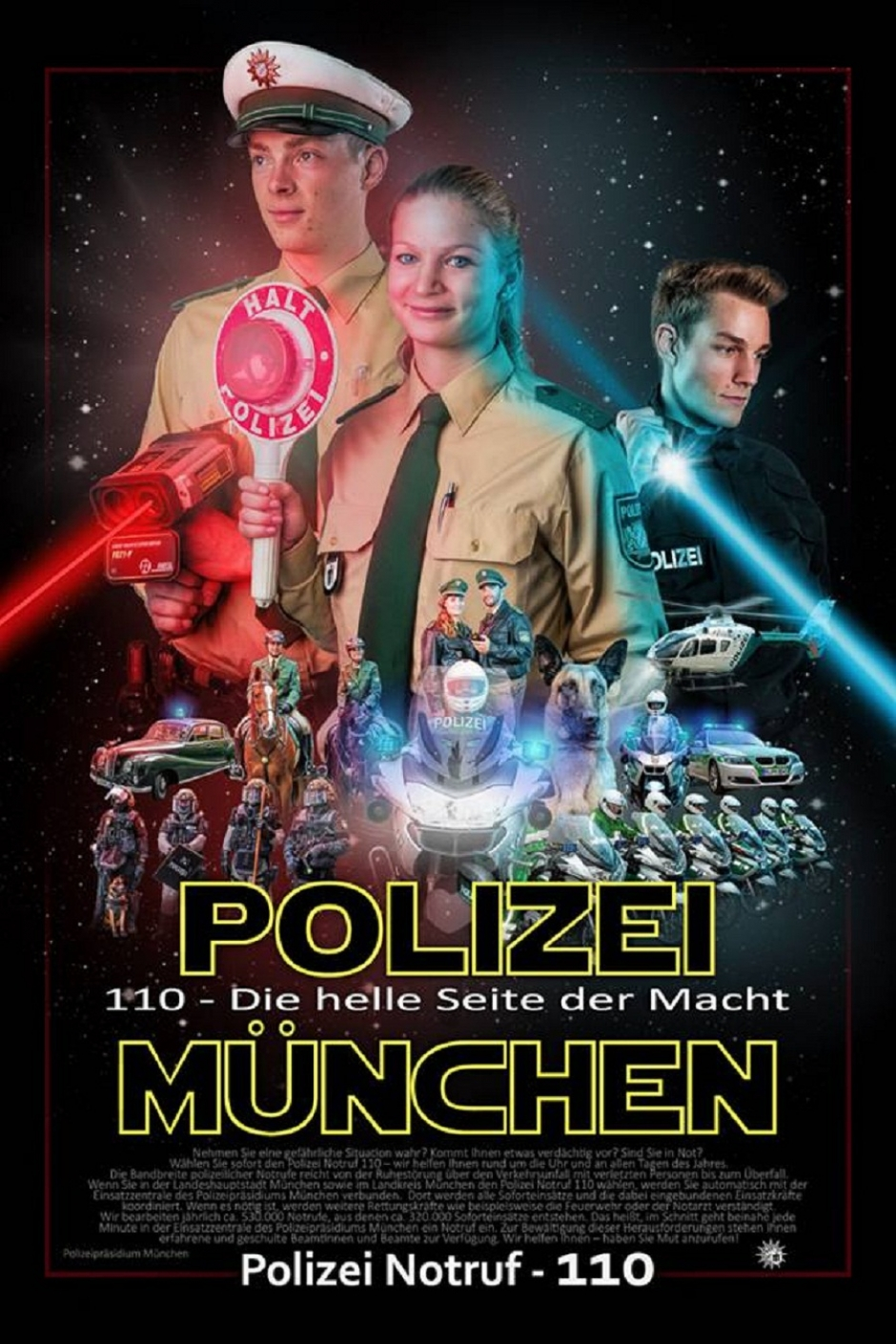 Munich Police with Star Wars Poster and Yoda-Speak
